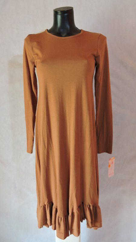 Pamučna haljina dugi rukav sa volanom