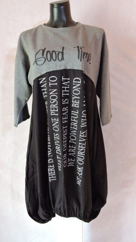 Sivo-crna tunika tričetvrt rukava